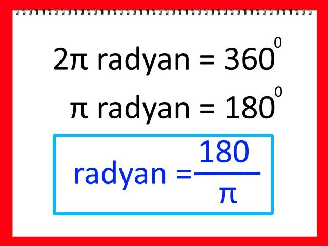 Radyan Dereceye Nasıl Dönüştürülür Adım 1
